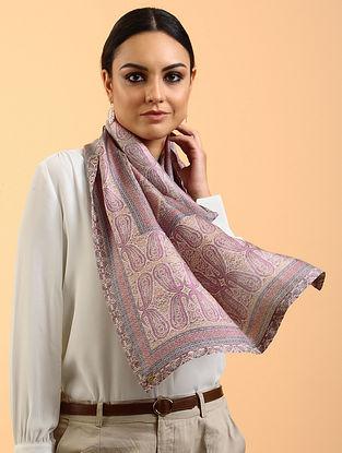 Pink-Grey Printed Habutai Silk Stole