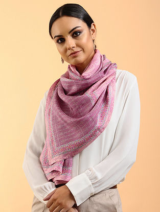 Pink Printed Habutai Silk Stole