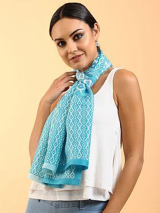 Blue-Ivory Printed Habutai Silk Stole