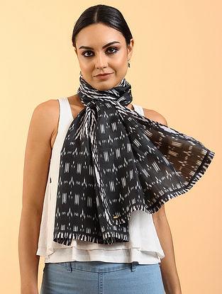 Black-White Printed Habutai Silk Stole