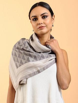 Grey-White Printed Habutai Silk Stole