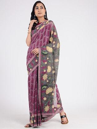 Purple-Yellow Printed Khadi Cotton Saree