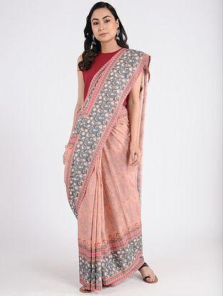 Peach-Grey Printed Khadi Cotton Saree
