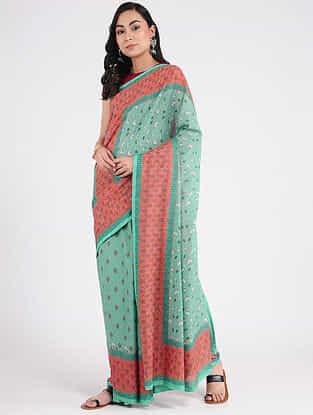 Sea Green-Pink Printed Khadi Cotton Saree