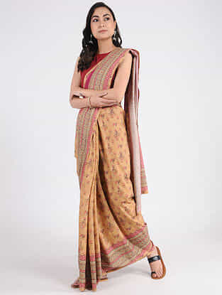 Beige-Pink Printed Khadi Cotton Saree