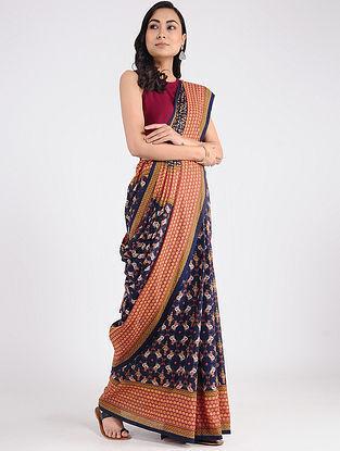 Blue-Red Printed Khadi Cotton Saree