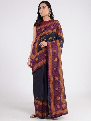 Black-Purple Printed Khadi Cotton Saree