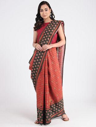 Red-Black Printed Khadi Cotton Saree