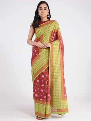 Grey-Red Printed Khadi Cotton Saree