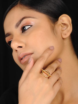 Classic Gold Tone Handcrafted Brass Ring