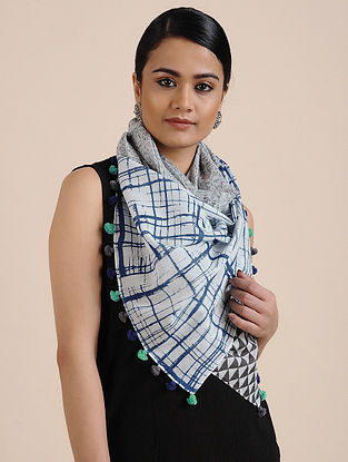 Ivory-Blue Printed Cotton Scarf
