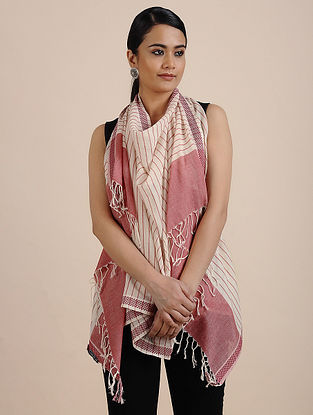 Pink-White Handwoven Cotton Scarf