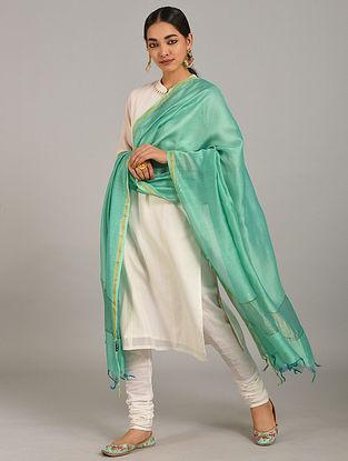 Green Silk Cotton Dupatta with Zari and Mukaish