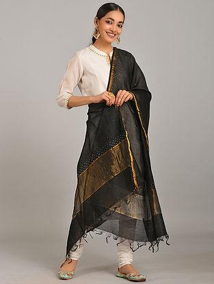Black Silk Cotton Dupatta with Zari and Mukaish
