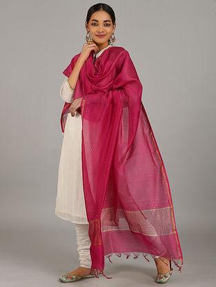 Pink Silk Cotton Dupatta with Zari and Mukaish