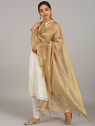 Beige Embroidered Silk Cotton Dupatta with Zari