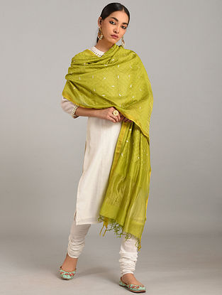 Green Embroidered Silk Cotton Dupatta with Zari