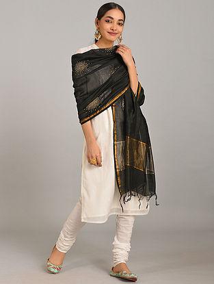 Black Embroidered Silk Cotton Dupatta with Zari