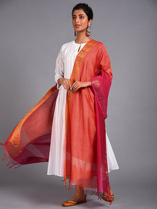 Orange-Pink Block Printed Chanderi Dupatta with Mukaish