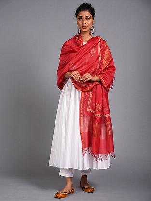 Red Block Printed Chanderi Dupatta with Mukaish