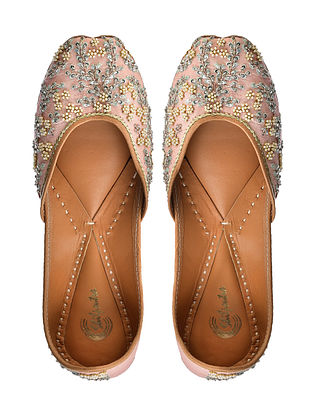 Pink Sequin Embroidered Silk and Leather Juttis with Pearl Embellishments