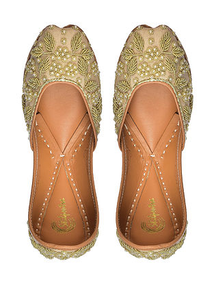 Beige Zardozi Embroidered Silk and Leather Juttis with Pearl Embellishments