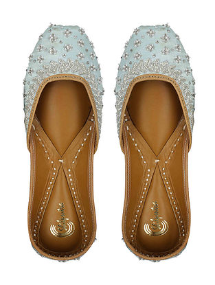 Mint Swarovski Embroidered Silk and Leather Juttis