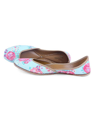 Blue-Pink Floral Digital Printed Leather Juttis with Embellishments