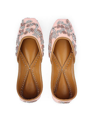 Pink Hand-Embroidered Silk and Leather Juttis with Embellishments