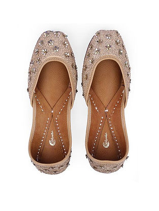 Golden Hand-Embroidered Leather Juttis with Embellishments