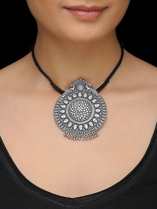 Black Thread Necklace with Floral Motif Silver Pendant