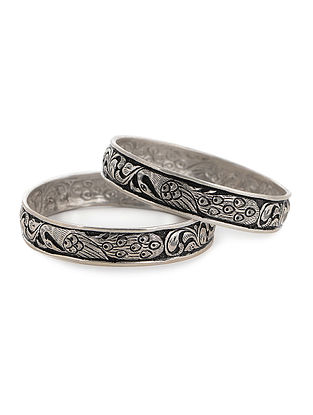 Tribal Silver Bangles with Floral Motif Set of 2 (Bangle Size -2/14)
