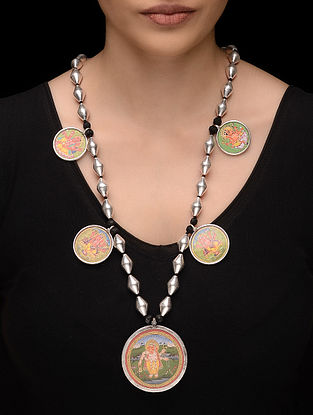 Multicolor Dholki Beaded Silver Necklace with Hand-painted Lord Gnaesha Motif