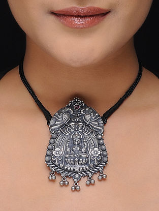 Ruby Silver Thread Necklace with Deity Motif