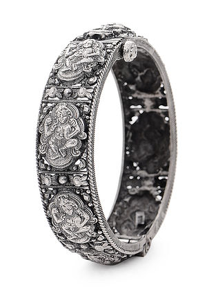 Hinged Opening Tribal Silver Bangle with Deity Motif (Bangle Size - 2/2)