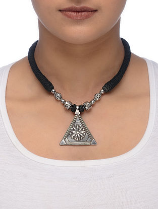 Black Thread Tribal Silver Necklace with Floral Motif