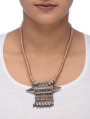 Peach Thread Tribal Silver Necklace with Taveez Design