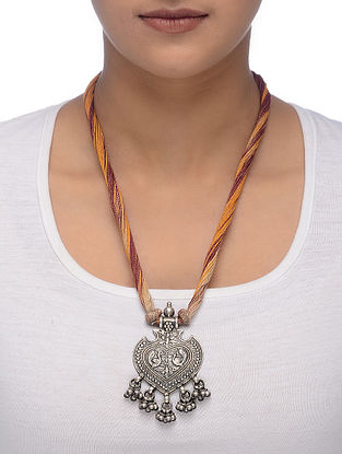 Pink-Mustard Thread Tribal Silver Necklace with Peacock Motif