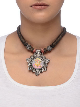 Brown Thread Silver Necklace with Hand-painted Lord Ganesha Motif