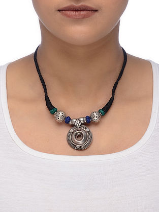 Black-Blue Thread Tribal Silver Necklace
