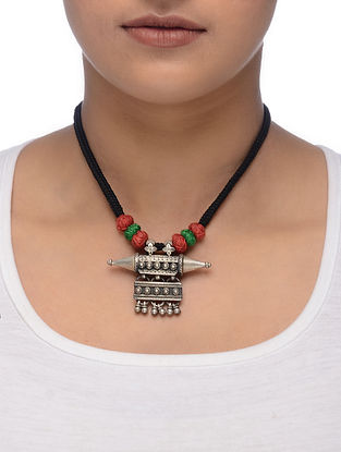 Black-Red Thread Tribal Silver Necklace with Taveez Design
