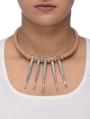 Beige Thread Tribal Silver Necklace