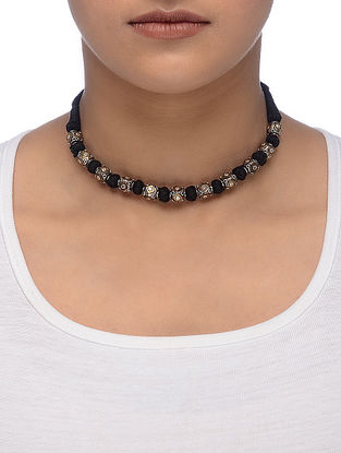 Black Thread Dual Tone Tribal Silver Necklace