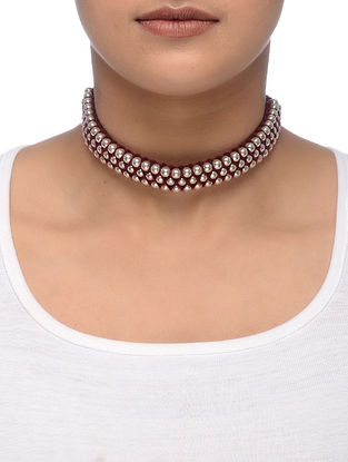Maroon Thread Silver Necklace
