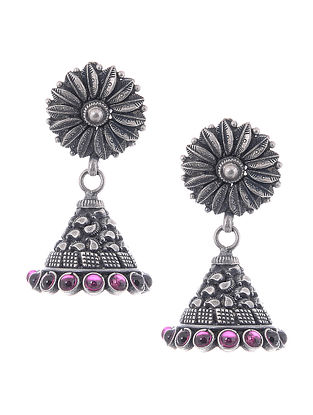 Pink Tribal Silver Jhumkis with Floral Design