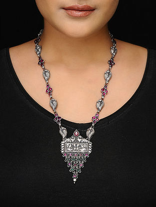 Pink-Green Tribal Silver Necklace with Peacock Motif