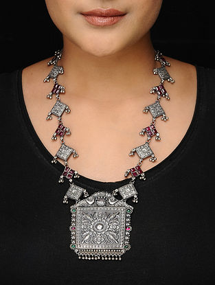 Pink-Green Tribal Silver Necklace with Floral Motif