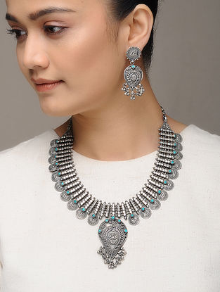 Turquoise Tribal Silver Necklace with a pair of Earrings (Set of 2)