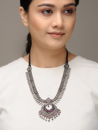 Ruby Tribal Silver Necklace