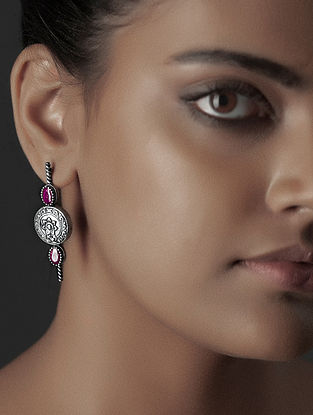 Pink Crystal Silver Earrings with Floral Motif